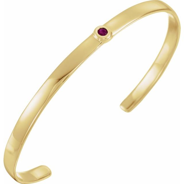 "14K Yellow Ruby Cuff 6"" Bracelet"
