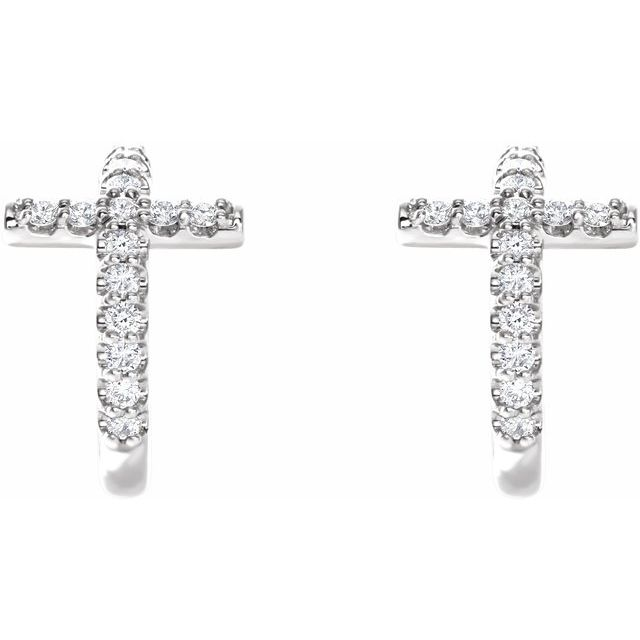 14K White 1/4 CTW Diamond Cross 12.15 mm Huggies