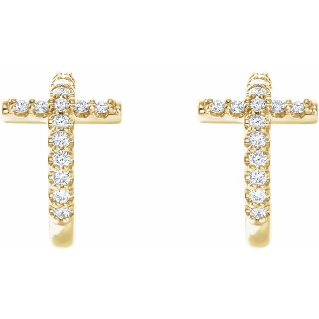 14K Yellow 1/4 CTW Diamond Cross 12.15 mm Huggie Earring