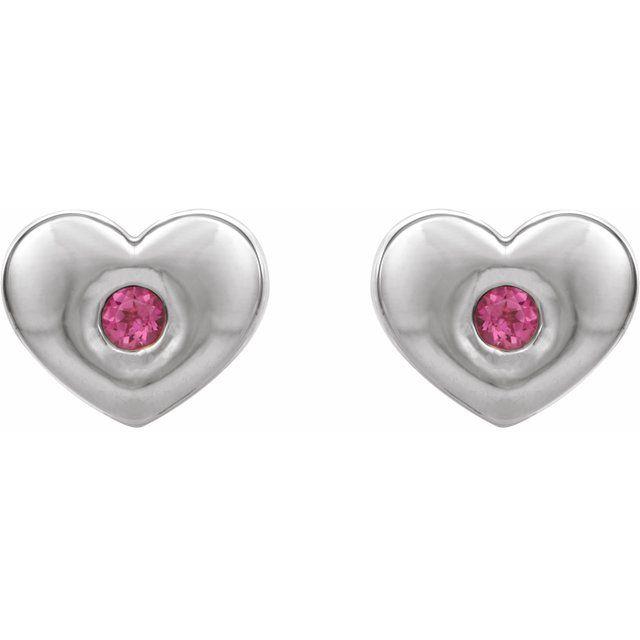 Sterling Silver Pink Tourmaline Heart Earrings