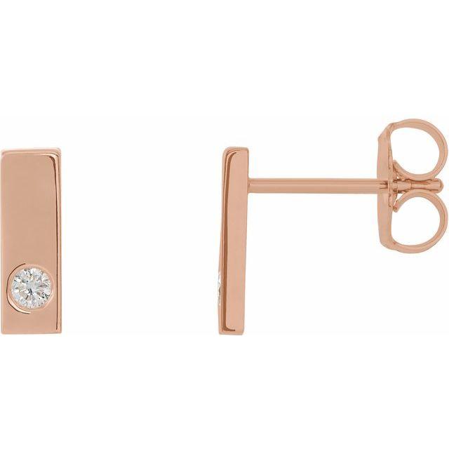 14K Rose .06 CTW Diamond Bar Earrings