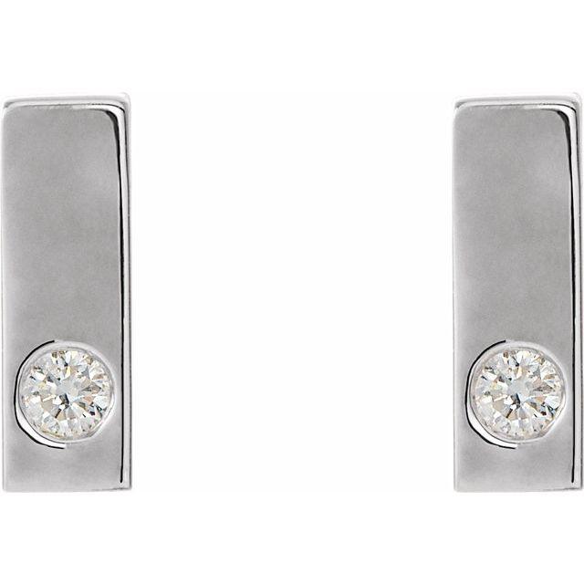 Sterling Silver .06 CTW Diamond Bar Earrings