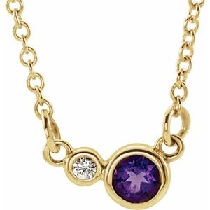 "14K Yellow Amethyst & .02 CTW Diamond 16"" Necklace"