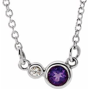 "Sterling Silver Amethyst & .02 CTW Diamond 18"" Necklace"