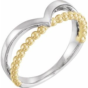 14K White & Yellow Negative Space Beaded V Ring