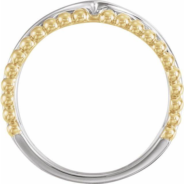 14K White & Yellow Negative Space Beaded V Ring