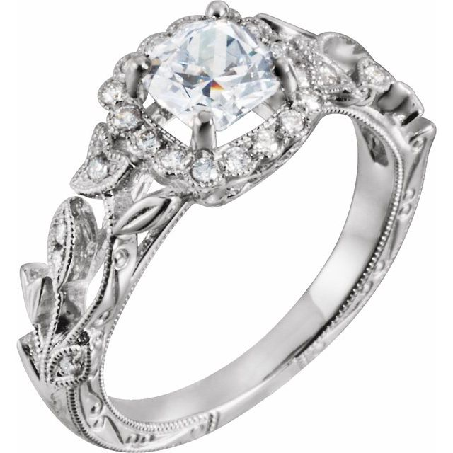 14K White .05 CTW Diamond Matching Band for 7 mm Round Ring Size 6