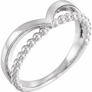 14K White Negative Space Beaded V Ring
