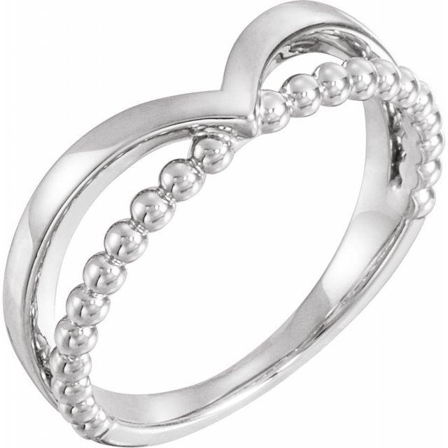 14K White Negative Space Beaded V Ring