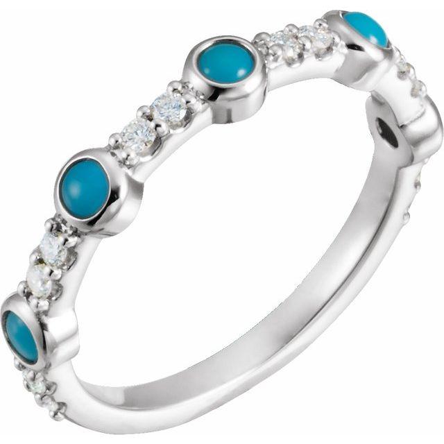 14K White Cabochon Turquoise & 1/5 CTW Diamond Ring