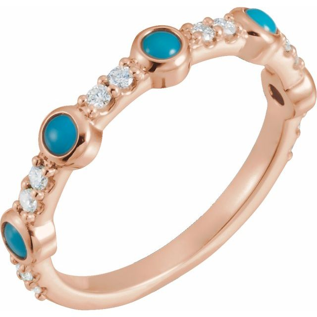 14K Rose Cabochon Turquoise & 1/5 CTW Diamond Ring