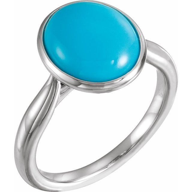 14K White 12x10 mm Oval Cabochon Turquoise Ring