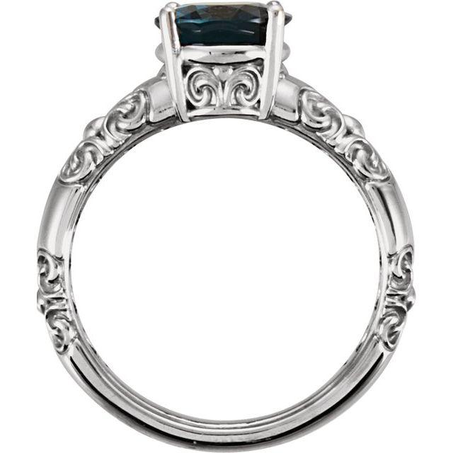 14K White 10x8 mm London Blue Topaz Ring
