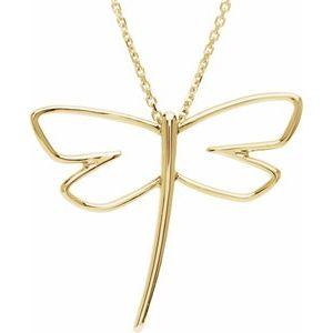 14K Yellow Dragonfly Pendant