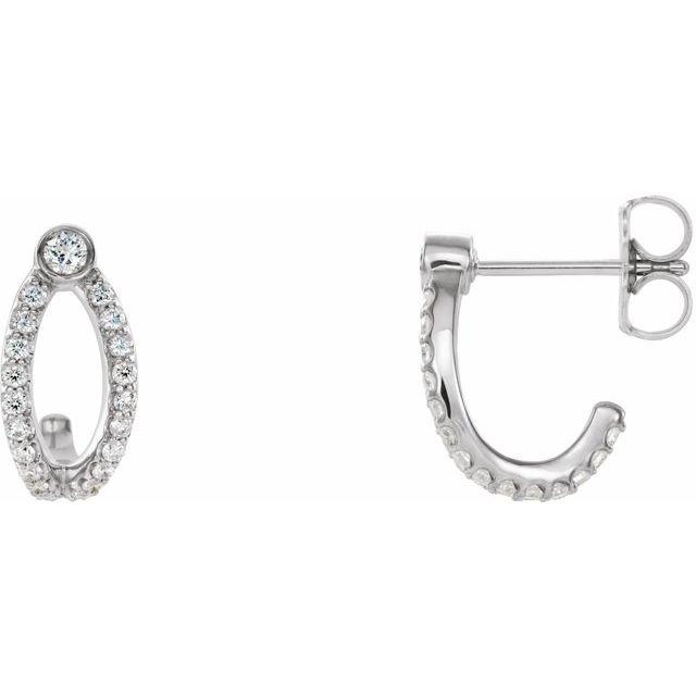 14K White 1/3 CTW Diamond J-Hoop Earrings