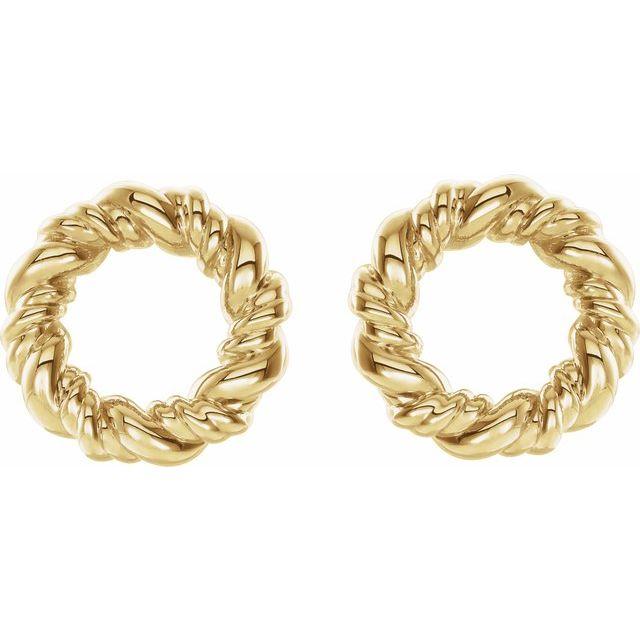 14K Yellow 9.4 mm Circle Rope Earrings