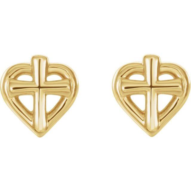 14K Yellow Cross with Heart Youth Earrings