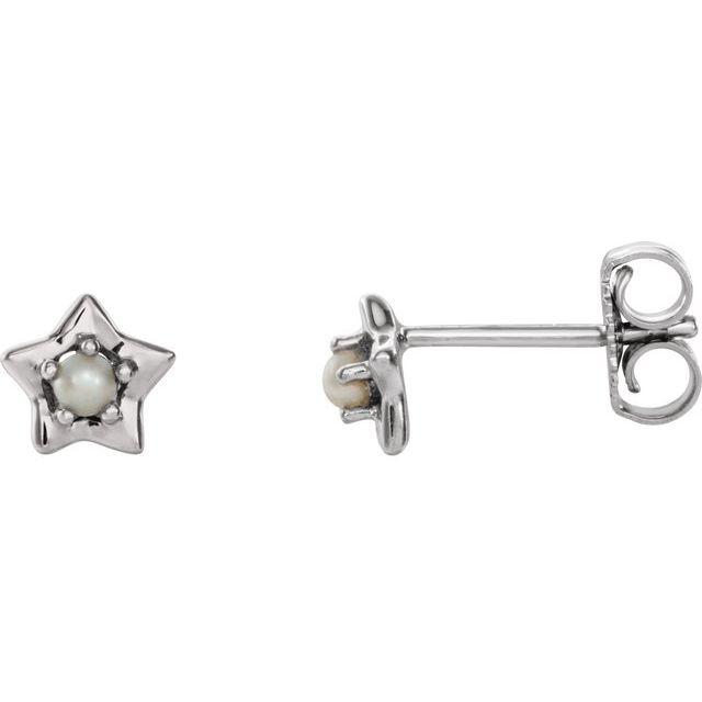 14K White 3 mm Round June Youth Star Birthstone Earrings