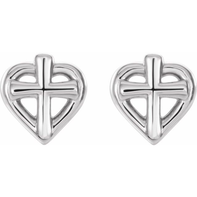 Sterling Silver Cross with Heart Youth Earrings