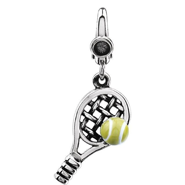 Sterling Silver Tennis Ball & Racket Charm