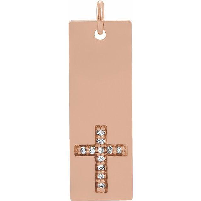 14K Rose .03 CTW Diamond Bar Cross Pendant