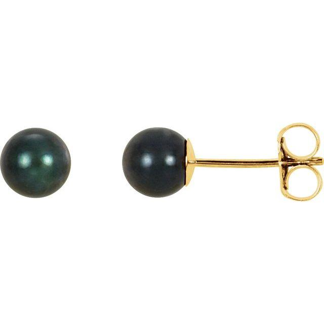 14K Yellow 5 mm Black Akoya Cultured Pearl Earrings
