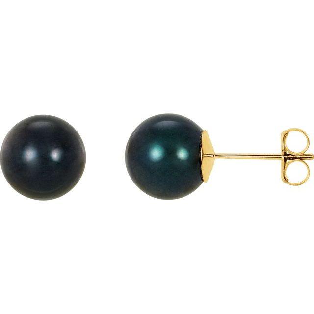 14K Yellow 8 mm Black Akoya Cultured Pearl Earrings