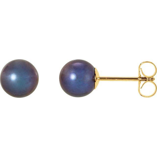 14K Yellow 5.5-6 mm Black Freshwater Cultured Pearl Earrings