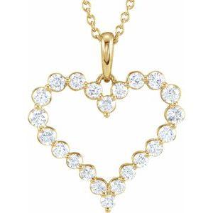 "14K Yellow 1 CTW Diamond Heart 18"" Necklace"