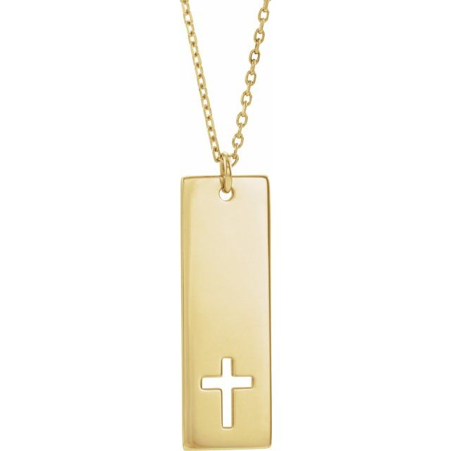 14K Yellow Pierced Cross Engravable Bar 16-18