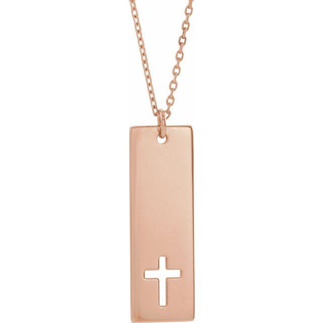 14K Rose Pierced Cross Engravable Bar 16-18