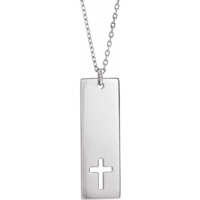 Sterling Silver Pierced Cross Engravable Bar 16-18