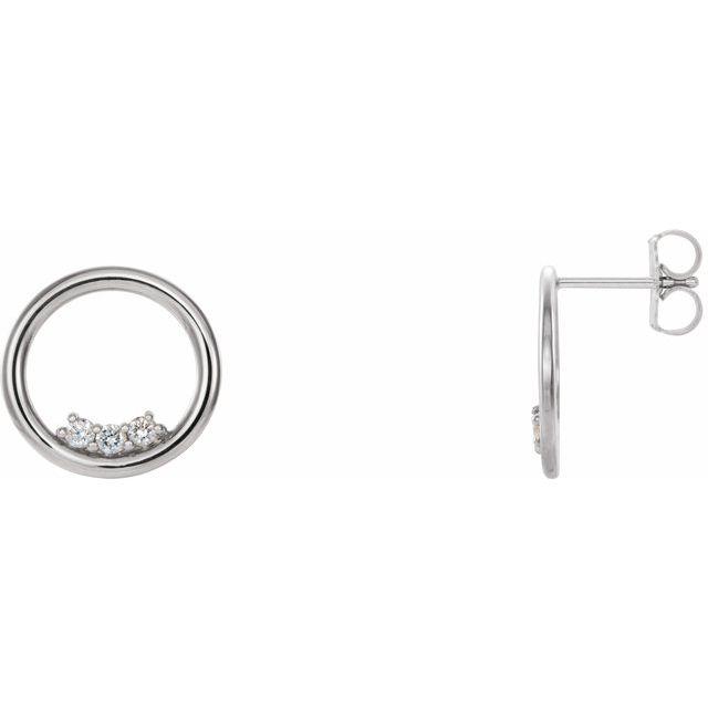 14K White 1/6 CTW Diamond Circle Earrings