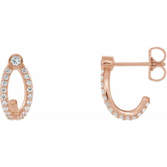 14K Rose 1/3 CTW Diamond J-Hoop Earrings