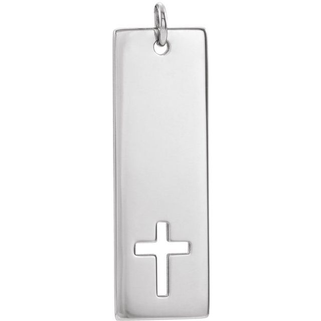 Sterling Silver Pierced Cross Engravable Bar Pendant