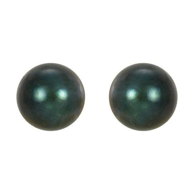 14K White 5 mm Black Akoya Cultured Pearl Earrings