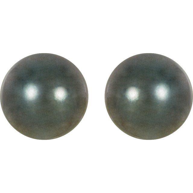 14K Palladium White 8 mm Round Tahitian Cultured Pearl Earrings