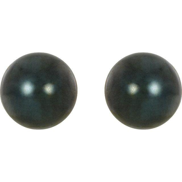 14K Yellow 7 mm Black Akoya Cultured Pearl Earrings