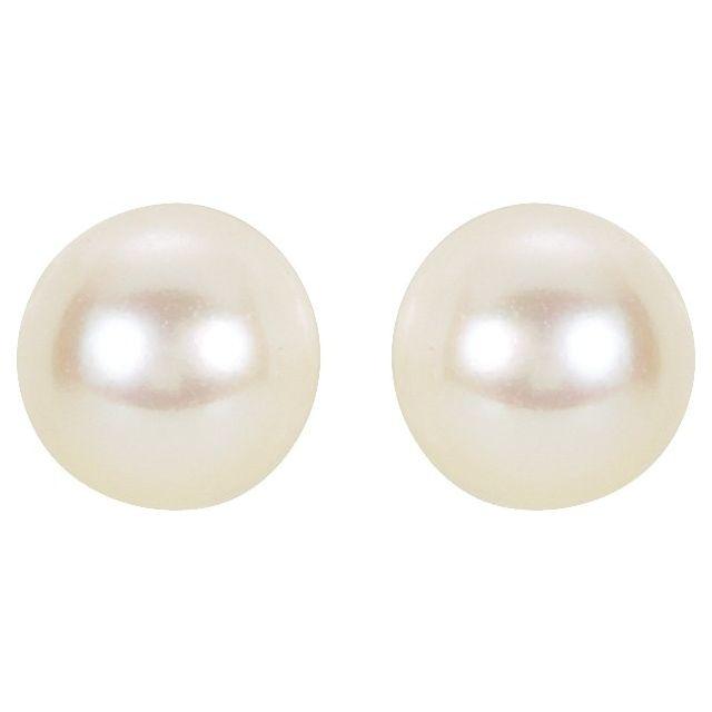 14K White 6 mm White Akoya Cultured Pearl Earrings