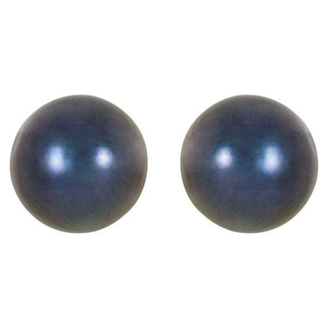 14K White 6 mm Black Akoya Cultured Pearl Earrings