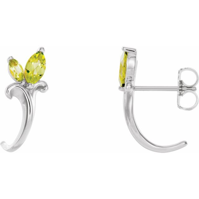 14K White Peridot Floral-Inspired J-Hoop Earrings