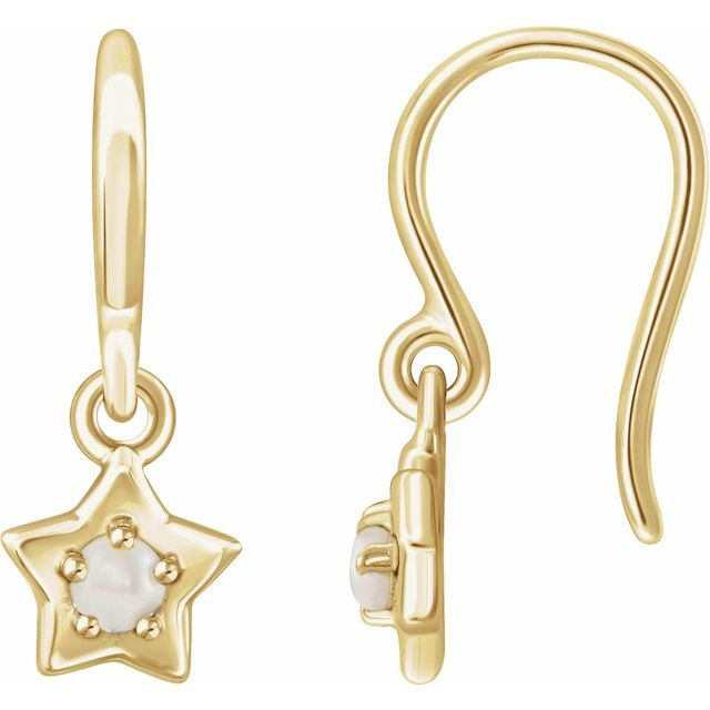 14K Yellow 3 mm Round June Youth Star Birthstone Earrings