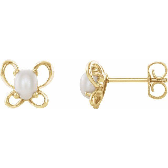 14K Yellow 4x3 mm Oval June Youth Butterfly Birthstone Earrings
