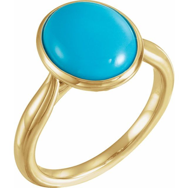 14K Yellow 12x10 mm Oval Cabochon Turquoise Ring