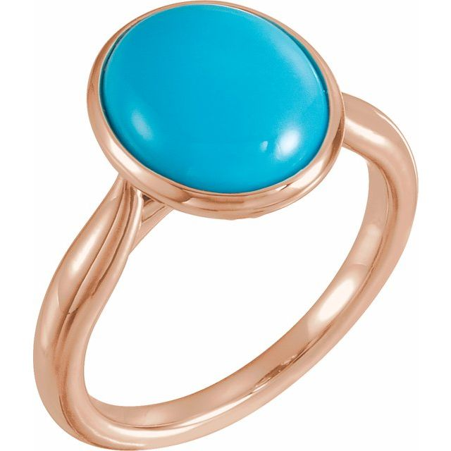 14K Rose 12x10 mm Oval Cabochon Turquoise Ring