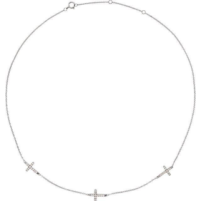 "14K White 1/4 CTW Diamond 3-Station Cross Adjustable 16-18"" Necklace"