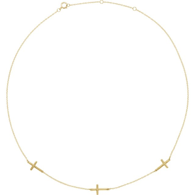 """14K Yellow 3-Station Cross Adjustable 16-18"""" Necklace"""