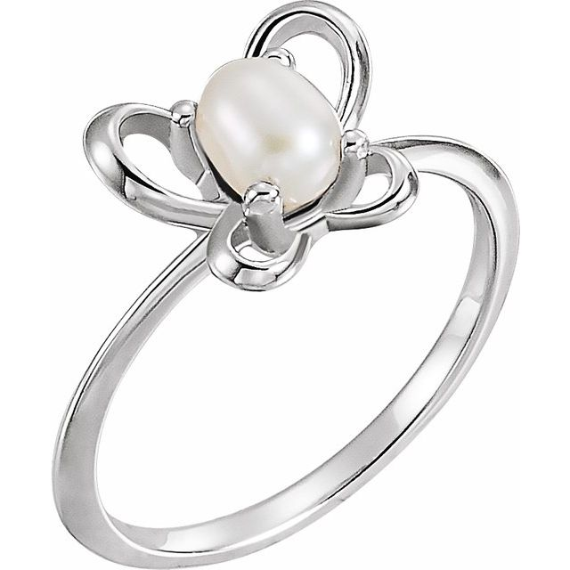 Sterling Silver 4x3 mm Pearl June Youth Butterfly Birthstone Ring