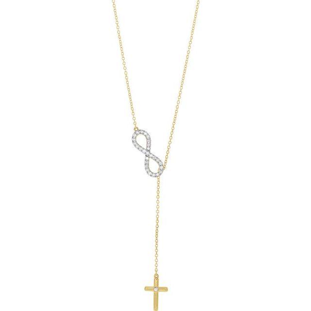14K Yellow 1/5 CTW Diamond Infinity-Inspired Cross 16-18