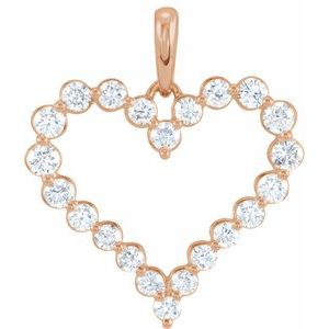 14K Rose 1 CTW Diamond Heart Pendant